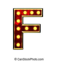 doré, f, isolé, illustration, lumières, white., lettre, 3d