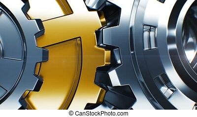 doré, fait boucle, hd, engrenage, fonctionnement, business, animation., process., mécanisme, tourner, collaboration, 4k, résumé, close-up., ultra, technologie, concept., 3840x2160., 3d