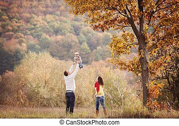 doré, famille, délassant, nature, ensemble, automne