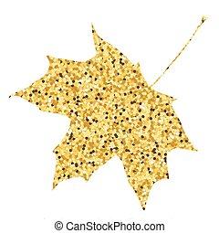 doré, feuille, dos, automne, fall., érable