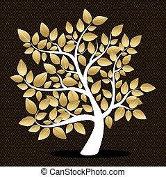 doré, feuille, silhouette, arbre, automne