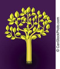 doré, feuilles, arbre, lustré