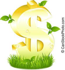 doré, feuilles, signe dollar, herbe verte