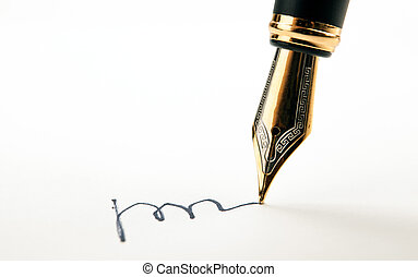 doré, feuilles, stylo, papier, fontaine, signature, blanc
