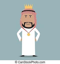 doré, fier, couronne, arabe, homme affaires