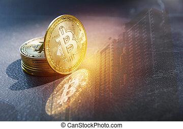 doré, financier, concept., cryptocurrency, bitcoin., technologie