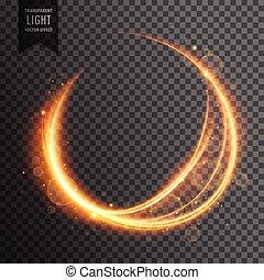 doré, flamme, effet, étincelant, lentille, fond, lumière, transparent, circulaire