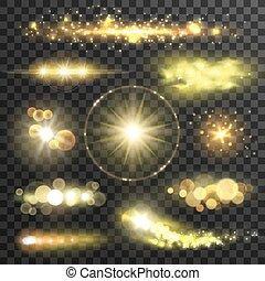 doré, flamme, effet, lentille, étoiles, scintillement