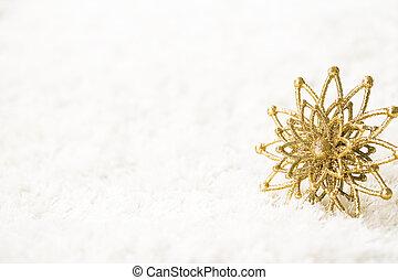 doré, flocon de neige, blanc, fond, résumé, or, flocon...