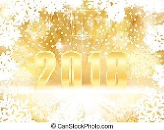 doré, flocons neige, étincelant, années, 2018, fond, nouveau, noël