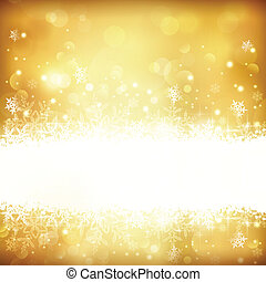 doré, flocons neige, lumières, incandescent, étoiles, fond, noël