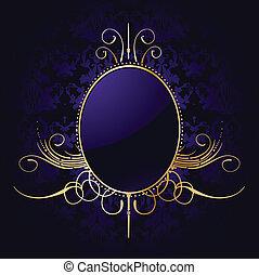 doré, frame., pourpre, royal, vecteur, fond