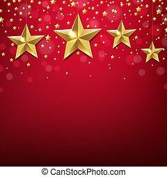 doré, frontière, étoile, arrière-plan rouge