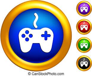 doré, frontières, icône, boutons, contrôleur, jeu