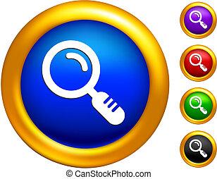 doré, frontières, verre, magnifier, icône, boutons