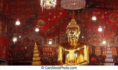doré, géant, bouddha, statue
