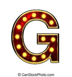doré, g, isolé, illustration, lumières, white., lettre, 3d