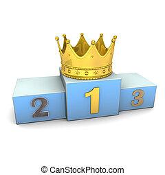 doré, gagnant, couronne