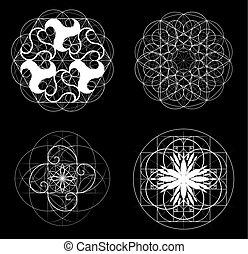 doré, geometry., eps, 10, vecteur, sacré, section.