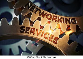 doré, gestion réseau, illustration., concept., services, gears., 3d