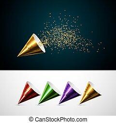 doré, glitters., exploser, popper, confetti, fête