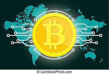 doré, globe, bitcoin, monnaie, monde numérique