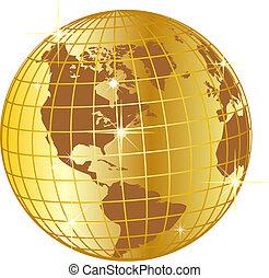 doré, globe, nord, et, amérique sud