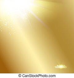 doré, gradient, soleil, sur, arrière-plan., image, briller, sommet, rayon