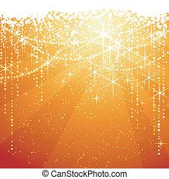 doré, grand, occasions., étoiles, fête, étincelant, années, arrière-plan., fond, neaw, ou, rouges, noël