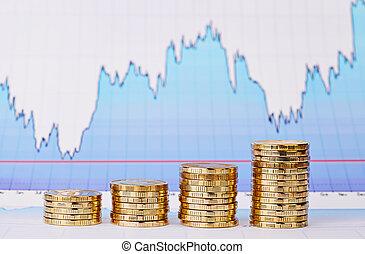 doré, graphique financier, piles, uptrend, pièces, foyer, ...