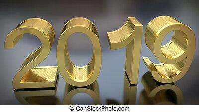 doré, gris, animation, 2019, année, nouveau, 3d