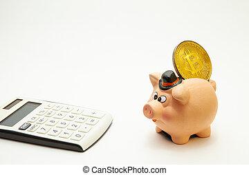 doré, gros plan, calculatrice, sommet, céramique, bitcoin, tirelire