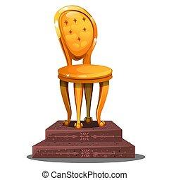 doré, gros plan, statuette, illustration., formulaire, vendange, isolé, dessin animé, arrière-plan., chaise, vecteur, blanc, piédestal