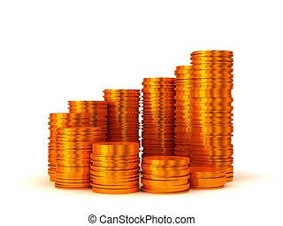doré, growth:, pièces, spirale, forme, piles