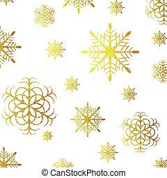 doré, grunge, flocons neige, fond, scintillement, noël