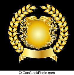 doré, héraldique, couronne, bouclier, laurier