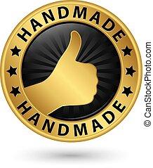 doré, haut, pouce, fait main, illustration, étiquette, vecteur