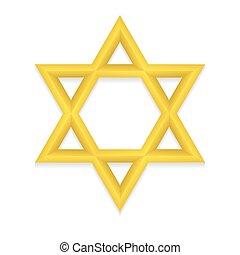 doré, hexagram, icône