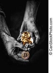 doré, homme, bitcoin, main