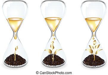 doré, horloge, argent, intérieur, arbre, verre