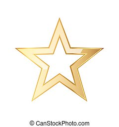 doré, icon., vecteur, étoile, illustration.