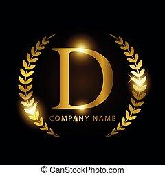 doré, identité, ou, luxe, lettre, marque, prime, étiquette, d