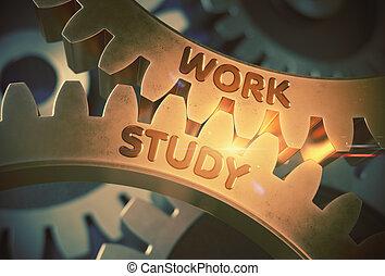 doré, illustration., étude, travail, métallique, gears., 3d