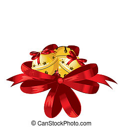 doré, illustration, arc, vecteur, décoré, brillant, noël, rouges, cloches