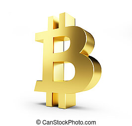 doré, illustration, bitcoin, rendre, fond, blanc, 3d