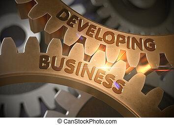 doré, illustration., business, développer, gears., 3d