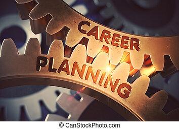 doré, illustration., carrière, concept., planification, cogwheels., 3d