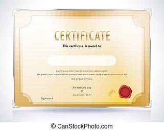 doré, illustration., certificat, arrière-plan., vecteur, luxe, gabarit, design.
