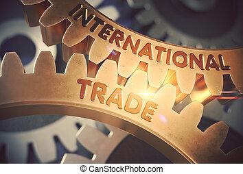 doré, illustration., commercer, gears., international, 3d
