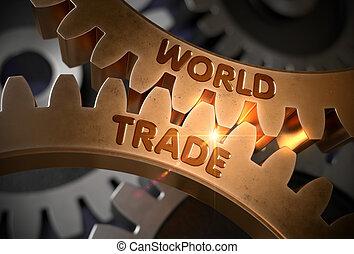 doré, illustration., commercer, mondiale, métallique, cogwheels., 3d